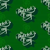 stock photo of shamrock  - vector seamless pattern with handwritten Saint Patricks Day label and shamrock leaf - JPG