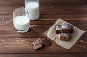 image of brownie  - chocolate brownie with milk and chocolate close-ua
