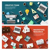 stock photo of e-business  - Modern flat design marketing research and creative team concept  for e - JPG