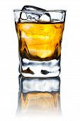stock photo of whiskey  - whiskey and natural ice isolated on white background - JPG