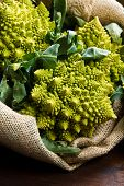stock photo of romanesco  - a group of  Romanesco broccoli cabbage on wood - JPG