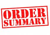 stock photo of summary  - ORDER SUMMARY red Rubber Stamp over a white background - JPG