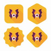stock photo of bat wings  - Eye With Bat Wings Flat Icon With Long Shadow - JPG