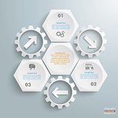 picture of honeycomb  - Infographic with honeycomb structure and gears on the grey background - JPG