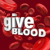 foto of blood drive  - Thw words Give Blood surrounded by red cells - JPG