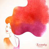 stock photo of beauty  - Watercolor Fashion Woman with Long Hair - JPG