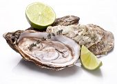stock photo of oyster shell  - Raw oyster and lemon isolated on a white background - JPG