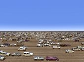 stock photo of overpopulation  - Computer generated 3D illustration with masses of cars - JPG