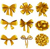 picture of ribbon bow  - Set of gold gift bows with ribbons - JPG