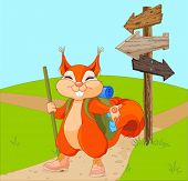 foto of clip-art staff  - Illustration of funny squirrel for a walk - JPG