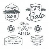 picture of car symbol  - Set of vintage - JPG