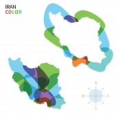 stock photo of tehran  - Abstract vector color map Iran of with transparent paint effect - JPG