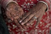 foto of indian wedding  - Henna on hands for a wedding - JPG