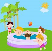 pic of inflatable slide  - Kids playing - JPG