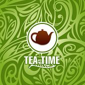 stock photo of kettles  - vector background with tea kettle and green leafs - JPG