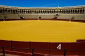 stock photo of bullfighting  - Spanish bullfight arena in Seville called Plaza de Toros - JPG