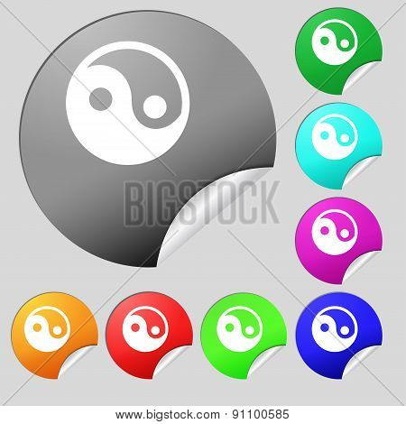 Ying Yang  Icon Sign. Set Of Eight Multi-colored Round Buttons, Stickers. Vector