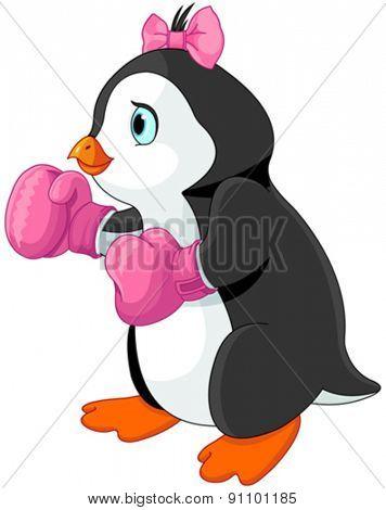 Illustration of cute penguin girl boxer