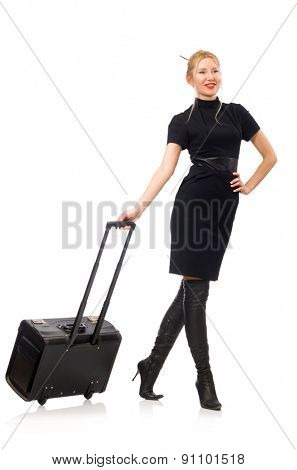 Pretty woman with bags isolated on white