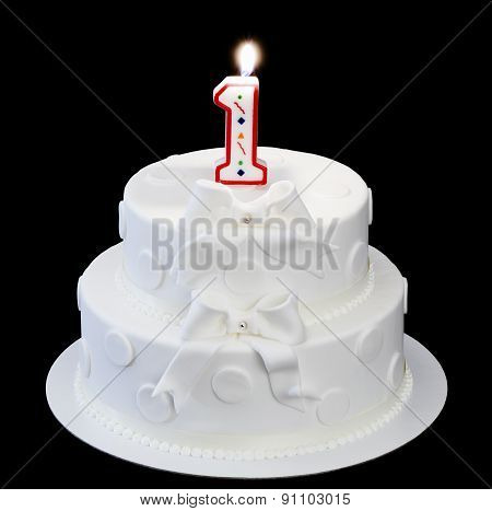 Candle Number One And Cake Isolated On A Black Background