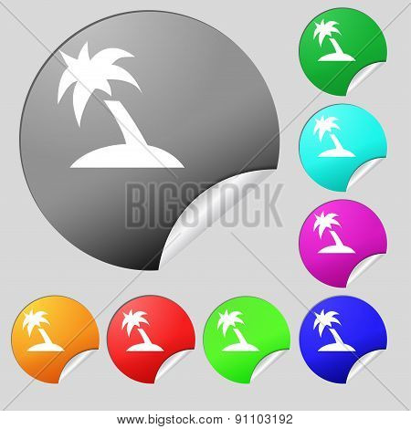 Palm Tree, Travel Trip  Icon Sign. Set Of Eight Multi-colored Round Buttons, Stickers. Vector