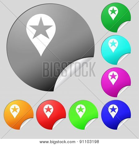 Map Pointer Award, Gps Location  Icon Sign. Set Of Eight Multi-colored Round Buttons, Stickers. Vect