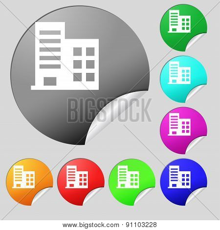 High-rise Commercial Buildings And Residential Apartments  Icon Sign. Set Of Eight Multi-colored Rou