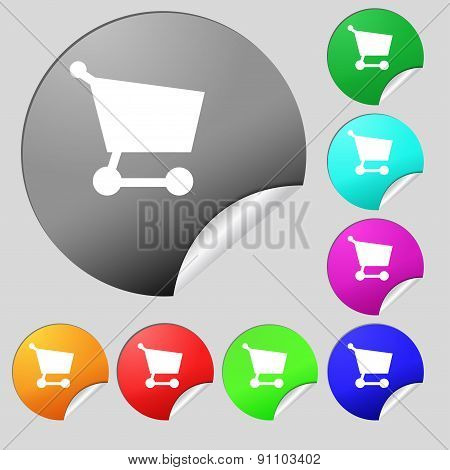 Shopping Basket  Icon Sign. Set Of Eight Multi-colored Round Buttons, Stickers. Vector