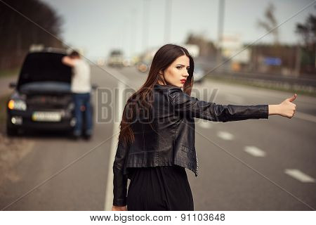 stops the car, hitchhiking, tourists, travel, way