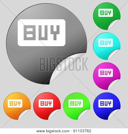Buy, Online Buying Dollar Usd   Icon Sign. Set Of Eight Multi-colored Round Buttons, Stickers. Vecto