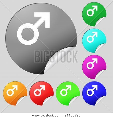 Male Sex  Icon Sign. Set Of Eight Multi-colored Round Buttons, Stickers. Vector