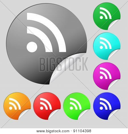 Rss Feed  Icon Sign. Set Of Eight Multi-colored Round Buttons, Stickers. Vector