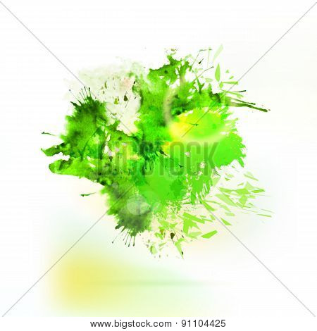 Abstract Green Watercolor Splash Element
