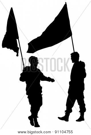 Soldier in uniform with flag on white background