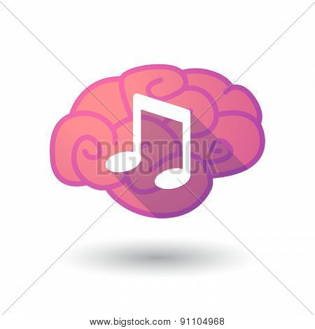 Brain Icon With A Note Music