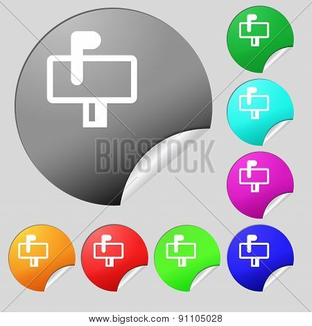 Mailbox  Icon Sign. Set Of Eight Multi-colored Round Buttons, Stickers. Vector