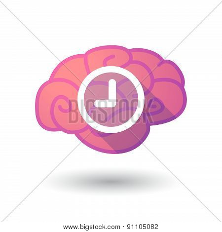 Brain Icon With A Clock