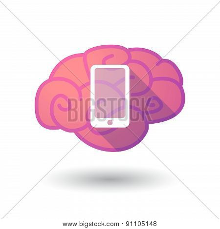 Brain Icon With A Smart Phone