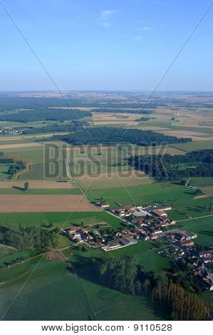 Aerial View Of French Village Countryside