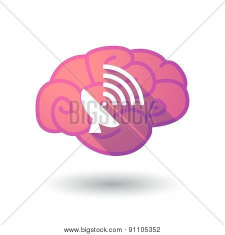 Brain Icon With A Satellite Dish