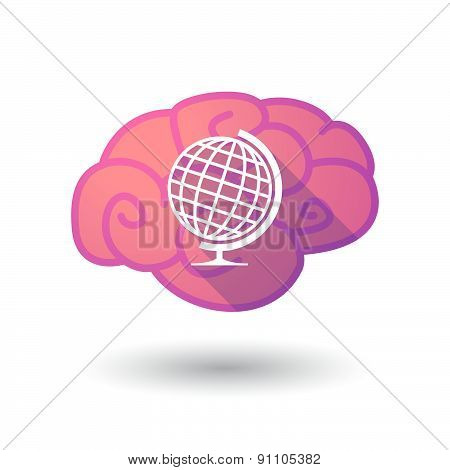 Brain Icon With A World Globe