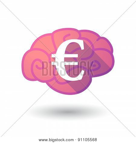 Brain Icon With An Euro Sign
