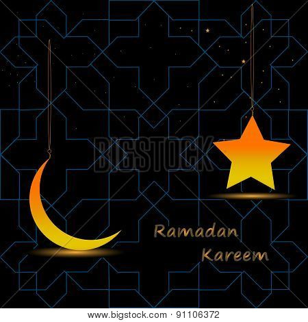 Gold Star And Gold Crescent Moon On A Dark Background With A Pattern For The Holy Month Of Muslim Co