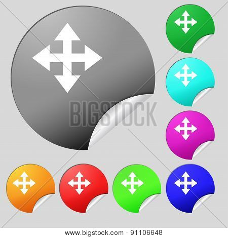 Deploying Video, Screen Size  Icon Sign. Set Of Eight Multi-colored Round Buttons, Stickers. Vector