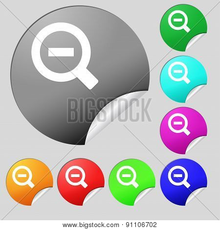 Magnifier Glass, Zoom Tool  Icon Sign. Set Of Eight Multi-colored Round Buttons, Stickers. Vector
