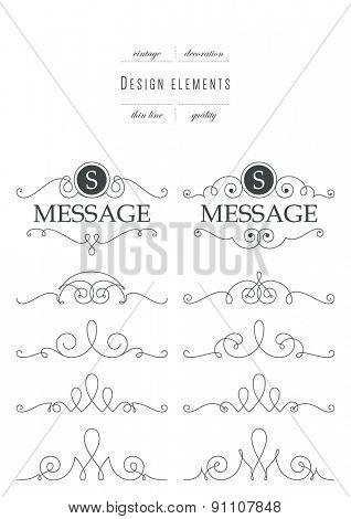 Set of calligraphic template elegant ornament lines