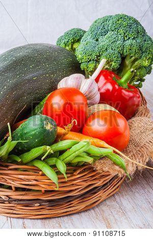 Vegetables . Fresh Bio Vegetable In A Basket