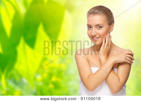 Young woman on floral background