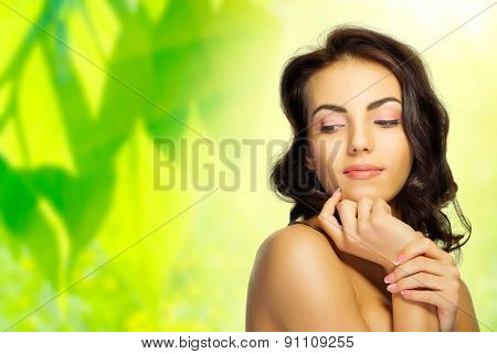 Young girl on spring background