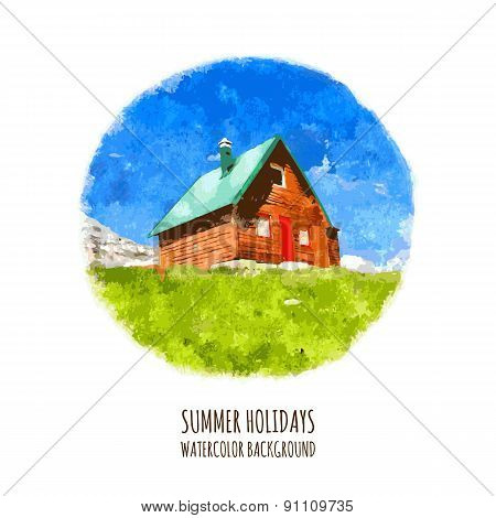 Green Field, Mountain And House, Vector Watercolor Illustration. Summer Holiday In Nature, Backgroun